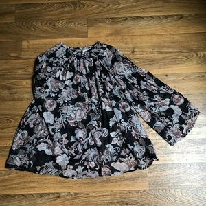 Sheer Floral Blouse High Neck Wide Arms by LOFT